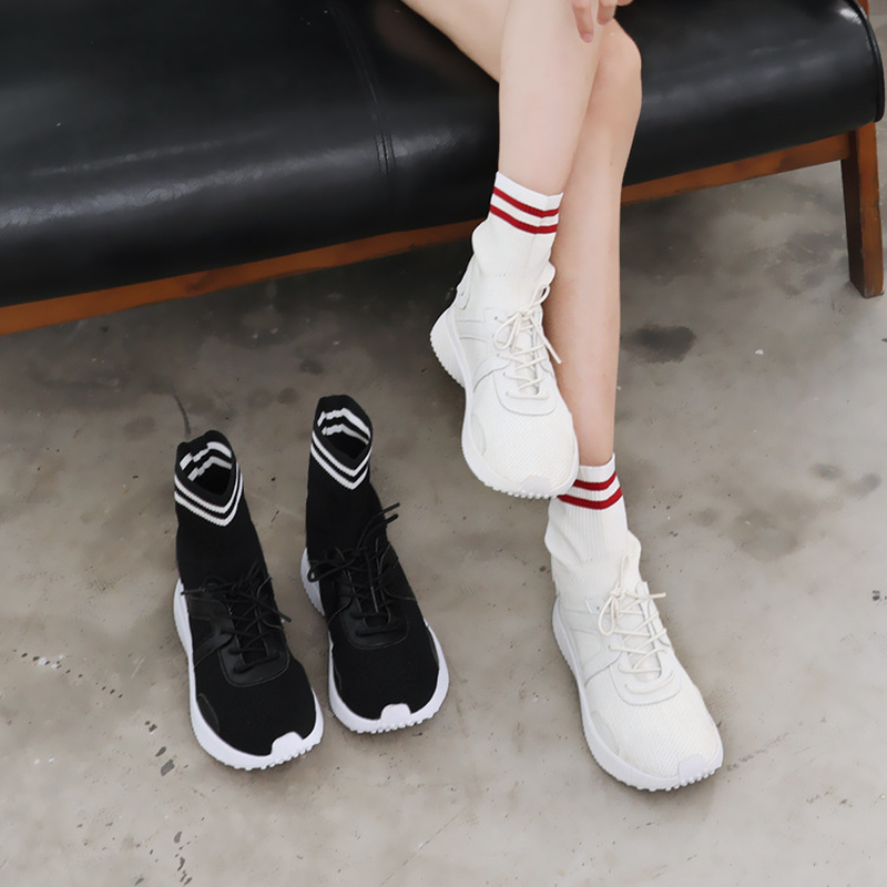 Flat Shoes Sock Boots Breathable Sneakers Women Shoes Casual High-Top Students Soft Elastic Black Fabric Leather Lace-up Booties red off shoulder lace up elastic waistband casual co ords