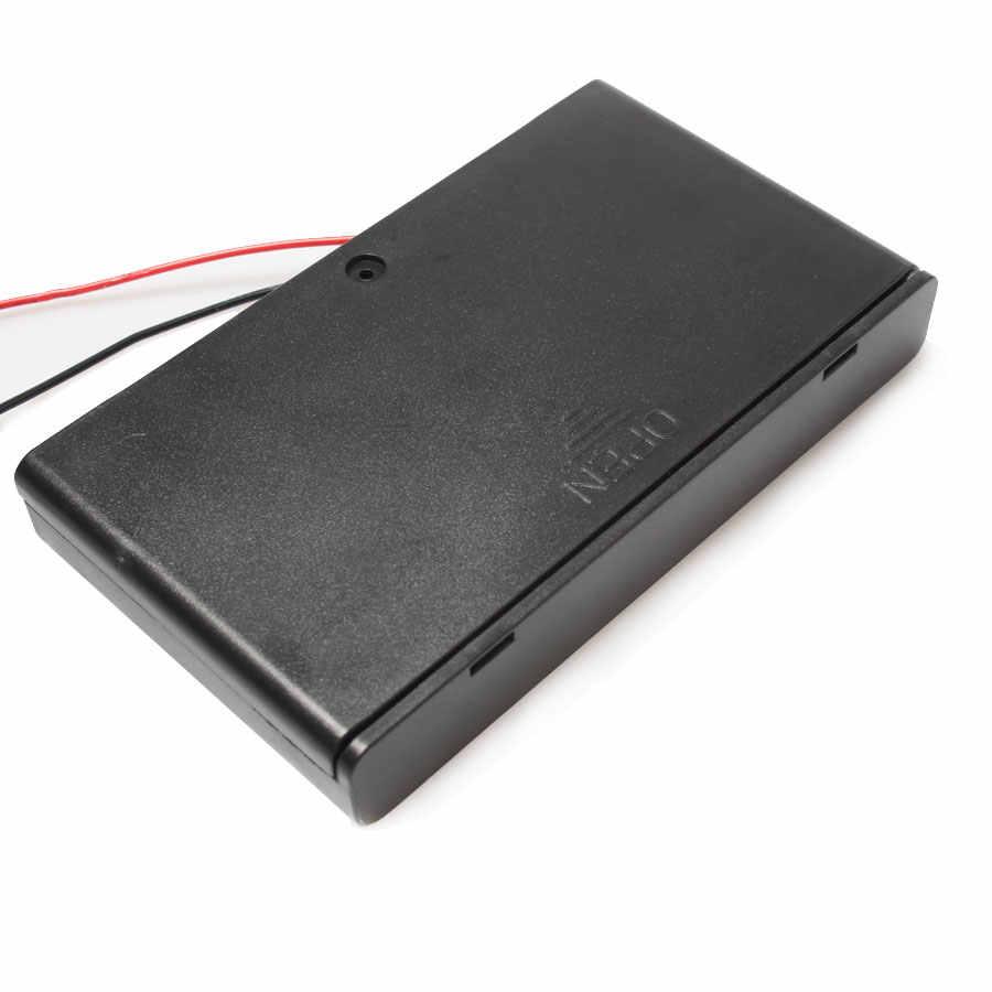 100 Cái/lốc Bán Buôn 8 * AA 12 V Pin Ắc Box Với ON/OFF Chuyển Dây Chì Pin Xe Đạp Box Cho Pin Extern
