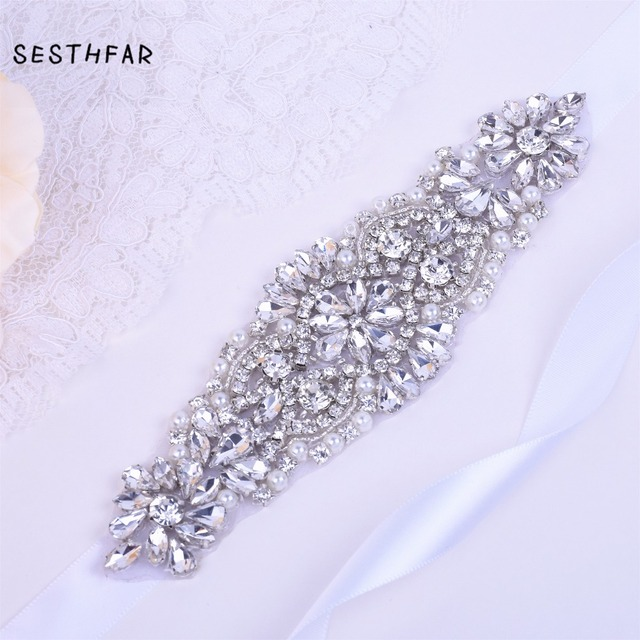 Crystal bridal belt Silver Wedding Belt With Rhinestones Bridal Sash For Wedding Party Dress Handmade JY03F SESTHFAR