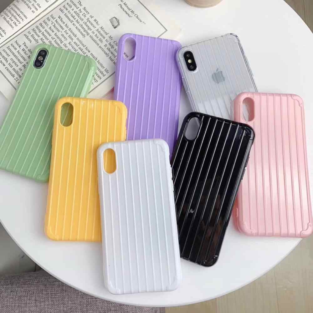Candy Color Soft TPU Phone Case For iphone XR Case For iphone 6 6s 7 8 plus X Xs max Luxury Trunk Style Back Cover
