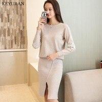 2018 Autumn Winter Knit Skirt Suit Women Pullover Sweater + High Waist Knee Length Skirt Knitted Female Office Wear 2 Piece Sets