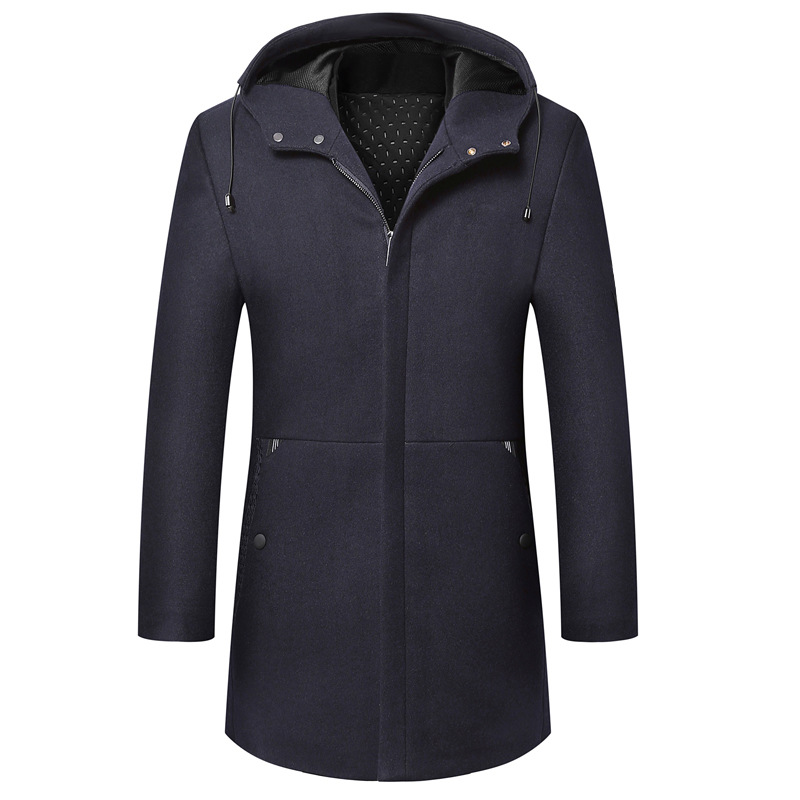 Autumn and winter new hooded England with woolencoat long men