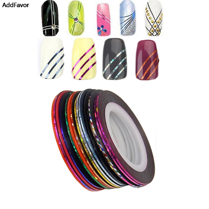 AddFavor 10PCS Striping Tape Line Nail Art Tips Decoration Mix 10 Beauty Nail Rolls Accessories Makeup Fingernail Sticker Tools 10 color 20m rolls nail art uv gel tips striping tape line sticker diy decoration 01zx 2t7j