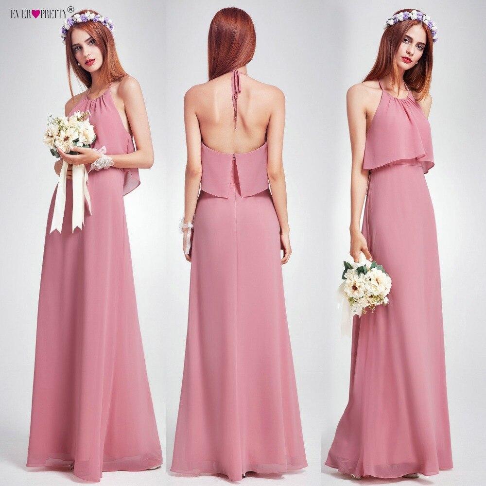 Elegant Bridesmaid Dresses Ever Pretty EP07129 Long Empire Ruffles Chiffon  Halter Dresses Wedding Occasion Dress 2019 9eed561cc6e8
