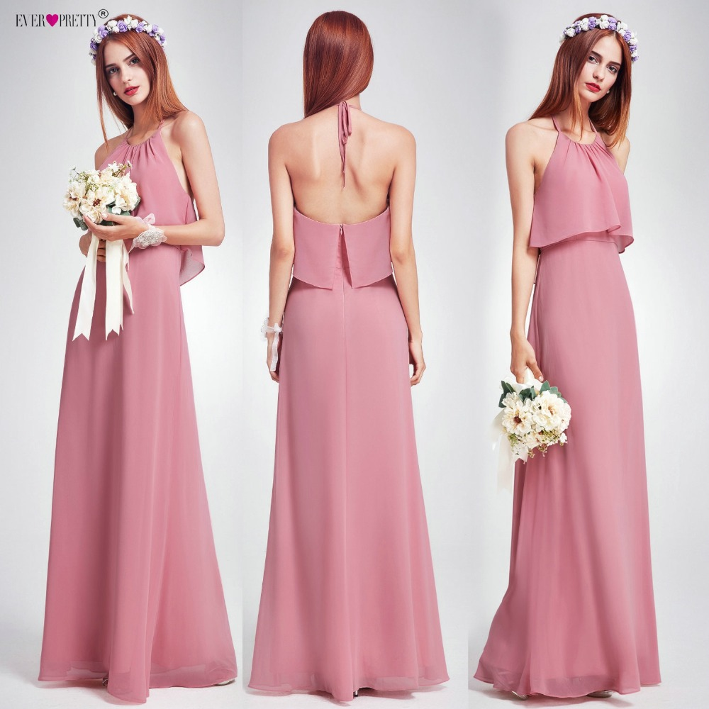 Us 39 11 49 Off Elegant Bridesmaid Dresses Ever Pretty Ep07129 Long Empire Ruffles Chiffon Halter Dresses Wedding Occasion Dress 2019 Woman New In