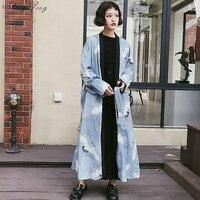 Harajuku style bf loose long section cardigan coat female Japanese style loose tie kimono cardigan fashion blouse women V1398