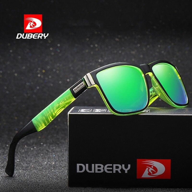 fb0a274589 DUBERY Condução Clássico Quadrado Polarizada Óculos De Sol Dos Homens Lente  Azul Lente Verde Óculos de