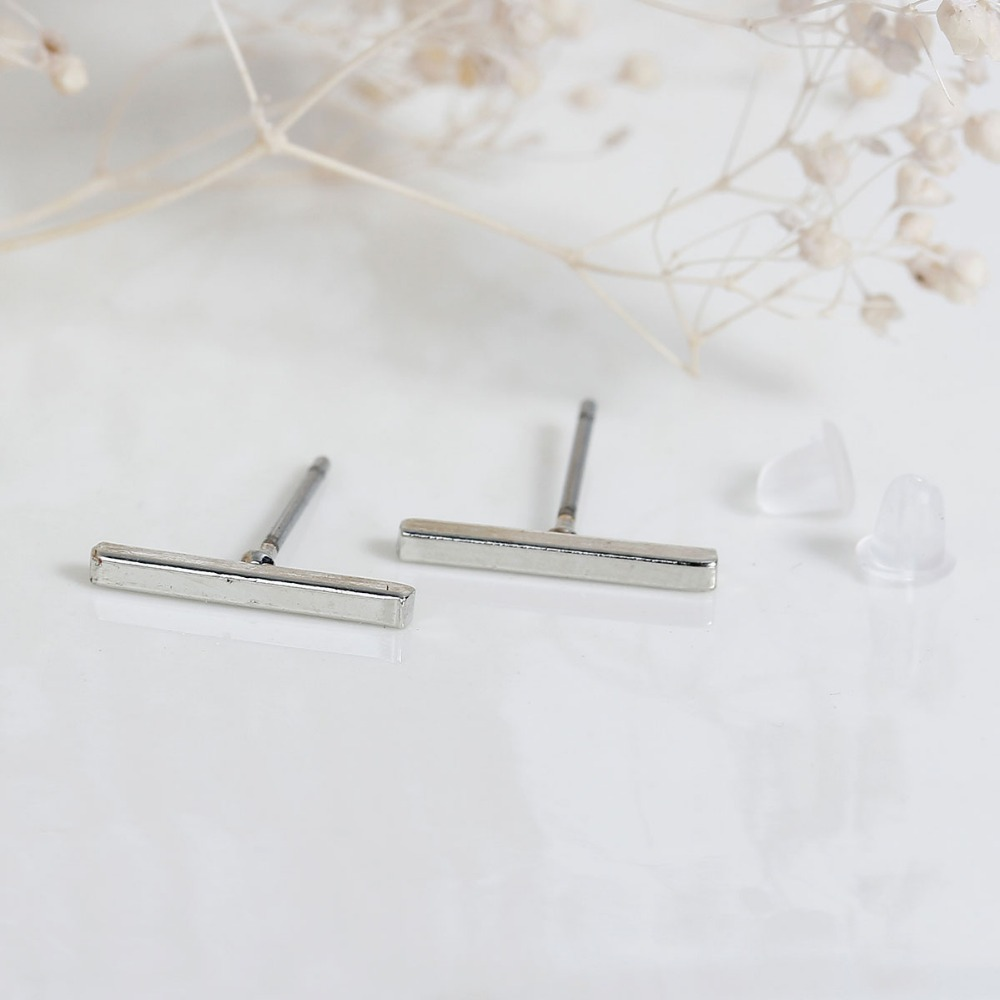 Galleria fotografica DoreenBeads Punk Simple <font><b>T</b></font> Bar Earrings <font><b>Gold</b></font> color / Silver Tone / Black Fashion Jewelry 1 Pair