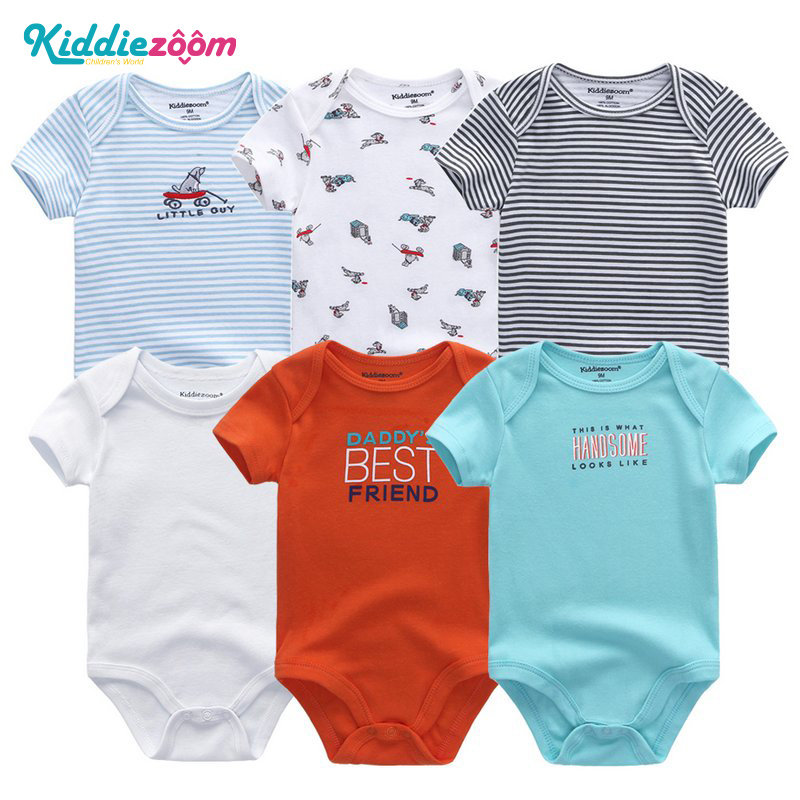 Newborn Baby Rompers Clothing 2018Summer Cartoon Short Sleeve Roupas De Bebe Menina 3 6 9 12 Months 6Pcs/Sets Boys&Girls Clothes