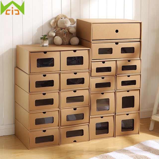 WCIC DIY Kraft Paper Shoes Storage Box With Transparent Window Jewelry Box  Drawer Type Shoes Holder