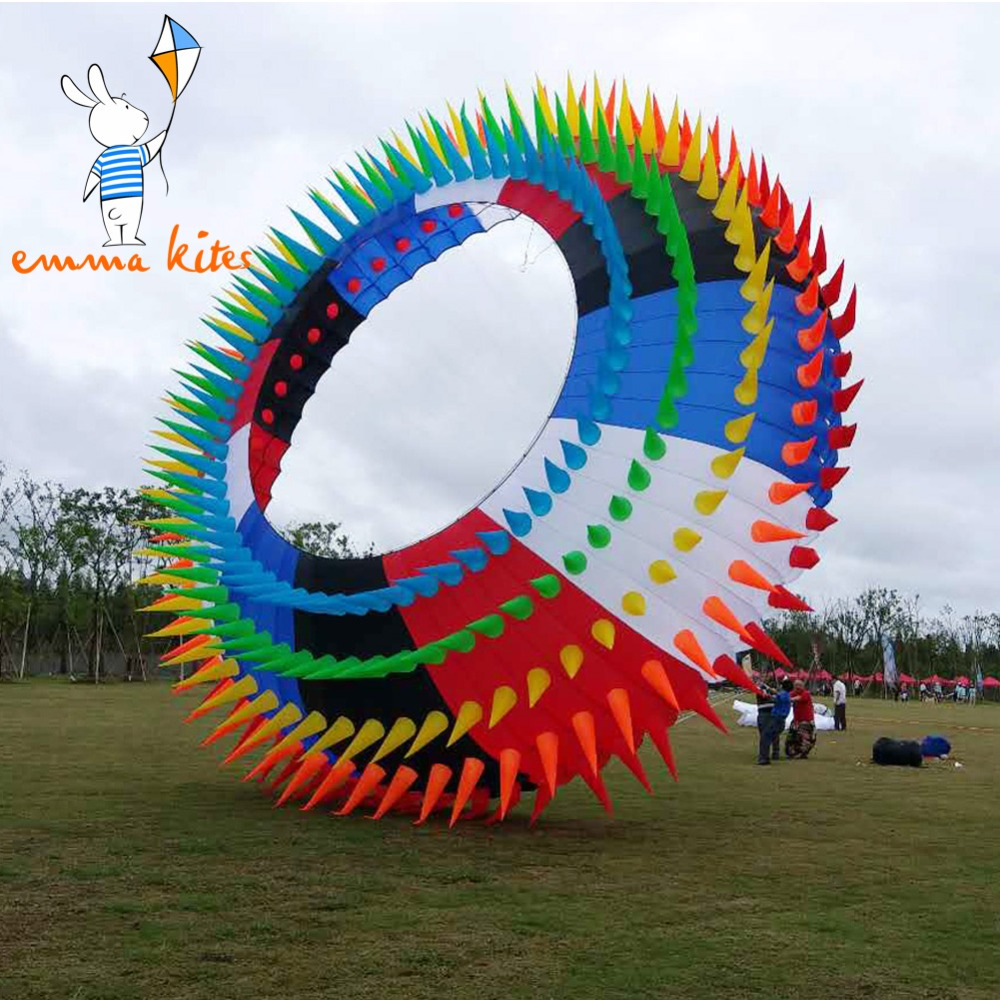 10m Large Show Kite Bol Rainbow Ring Halo Colorful Soft Kite For Outdoor Activity Festival