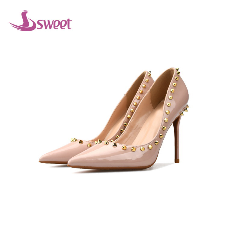 sweet Brand womens shoes woman pumps Spring/Autumn Basic Patent Leather Slip-On Pointed Toe Thin Heels Fashion Rivet Party A57 womens shoes high heel woman pumps spring autumn basic silk slip on pointed toe thin heels sexy wedding shoes ljx04 q