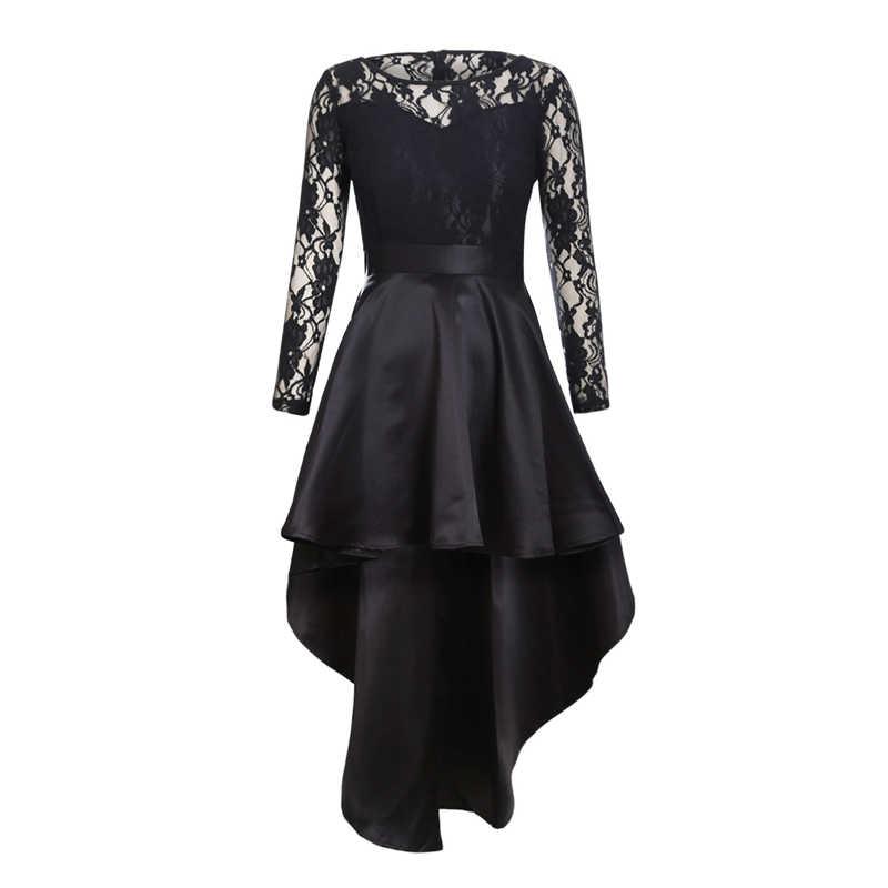 a2a903ec39c ... SEBOWEL Sexy Black Lace Maxi Party Dress Women Long Sleeve Evening  Formal Dress Autumn Long High ...