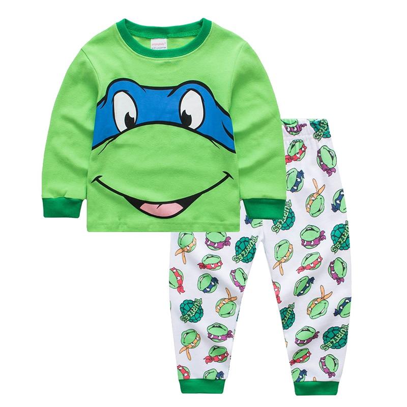 Kids Boys Sleepwear   Pajamas   Children Turtle Ninja   Set   Clothes   Pajamas   Kids 100% Cotton Cartoon Toddler Boy Long Sleeve Nightwear