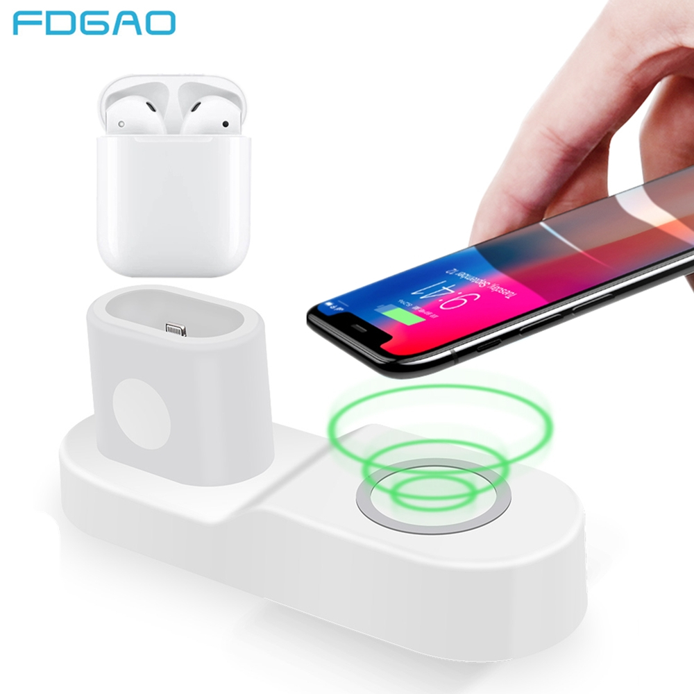 FDGAO 10 W Schnelle Drahtlose Ladegerät für iPhone 8 X XS Max XR USB Qi Lade Dock für Apple Uhr 2 3 4 Airpods für Samsung S9 S8 S7
