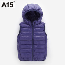 A15 Kids Vest Children Girls Vest Hooded Jacket Winter Spring Waistcoats for Boy Baby Outerwear Coats Big Teens 4 5 8 10 12 Year(China)