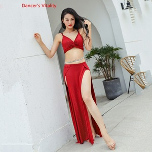 Image 1 - Hot Sell Shine Silver Knit Women Team 2 Piece Belly Dance Set Sexy Dancer Performance Show Clothing Red Wear