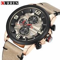 2017 Fashion Casual Men Analog Quartz Watch Curren Brand Luxury Leather Waterproof Sport Male Clock Wristwatch