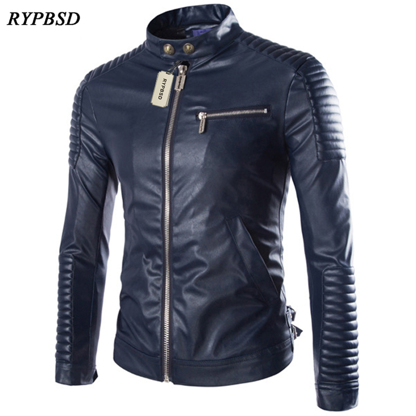 2019 New Brand Motorcycle Leather Jacket Men Stand Collar Fashion PU Faux Leather Jacket Zipper Long Sleeve Biker Jacket Men