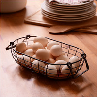 Modern Retro Rustic Wire Net With Wood Bottom Fruit Egg Storage Basket Multifuction Iron Craft Home Store Decoration Photo Prop