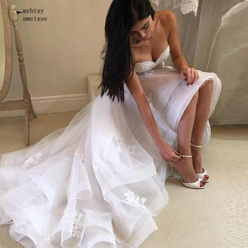 Vintage Lace Appliques Cheap Sexy Wedding Dresses 2019 High Low Party Dress Vestido De Noiva Bridal Wedding Gowns Robe De Mariee