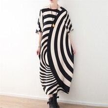 Новое летнее винтажное платье размера плюс в черно-белую полоску с коротким рукавом, свободное Повседневное платье макси, новое платье Boho Elbise Robe Femme