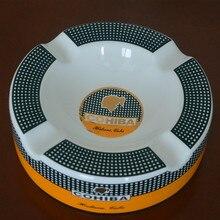 Cohiba высокое ультра-определения мода среднего размера 4 держатель костяного фарфора керамическая круглый сигары пепельница