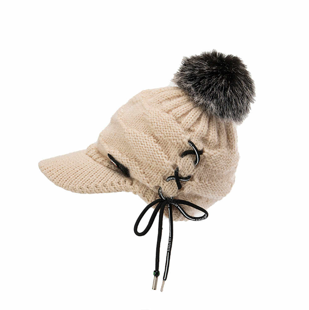 Fashion  Hat  1PC   Men Women Winter Cap Solid Bandage Ear Protector Knitting Wool  Slouchy Hairball Hat  2018 oct30