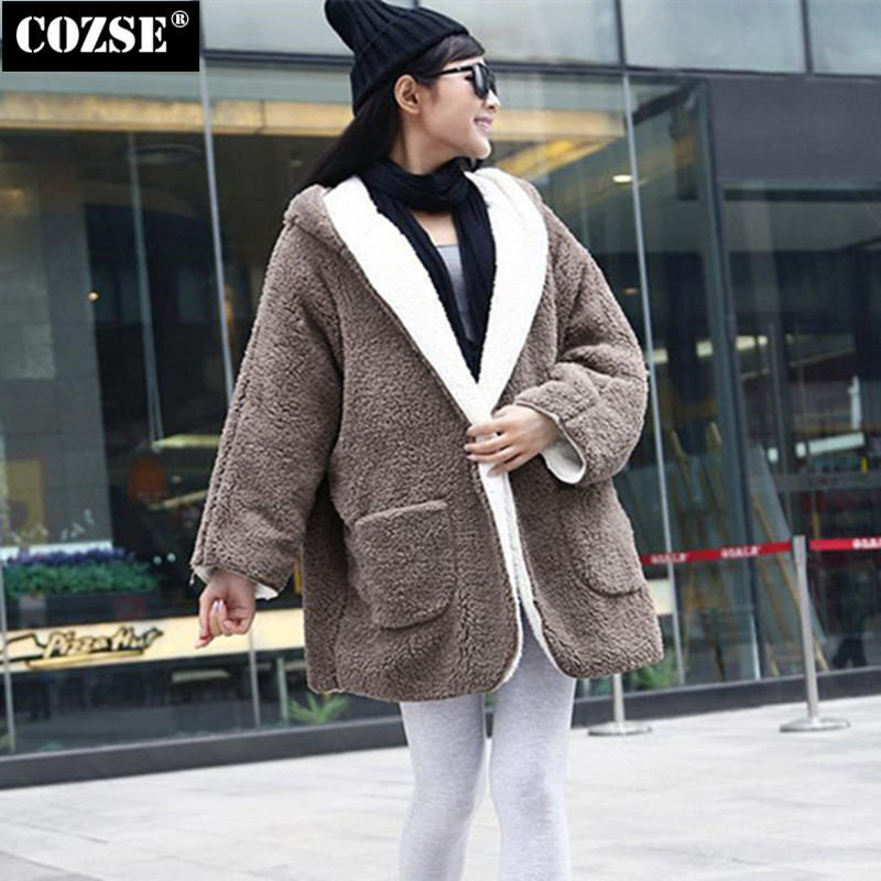 ФОТО Fashion 2015 Autumn More Warm Fluffy Women Coat Down Jacket Loose Long Sleeves Coat Women Free Shipping H8854
