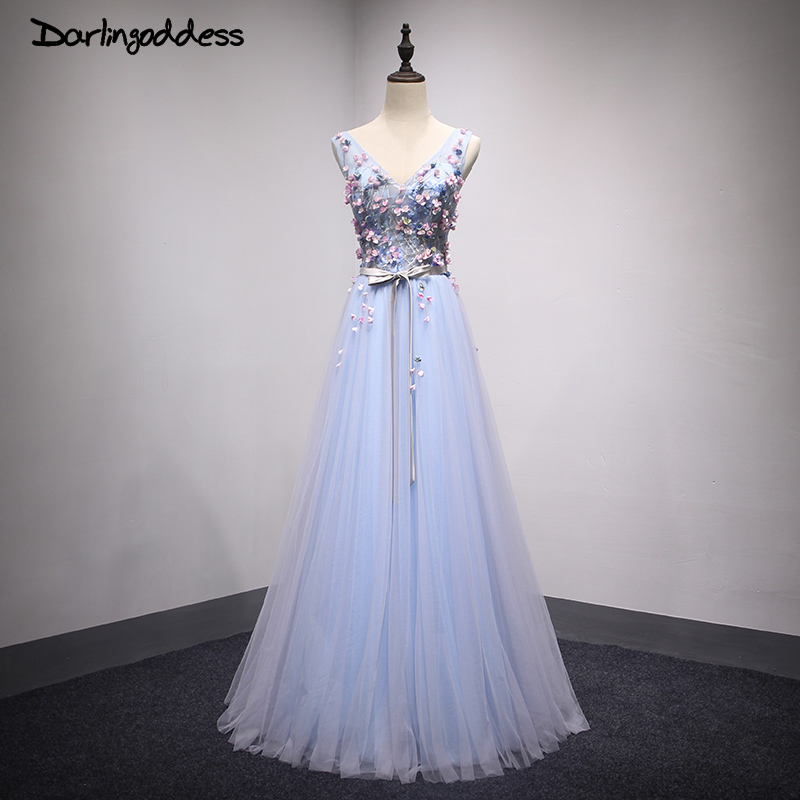 Robe de Soiree Sexy   Evening     Dresses   V Neck Blue Floor Length   Dress   Tulle Flower Long   Evening   Party Gowns 2017 Darlingoddess