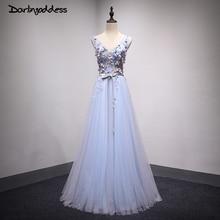 Robe de Soiree Sexy Evening Dresses V Neck Blue Floor Length Dress Tulle Flower Long Evening Party Gowns 2017 Darlingoddess