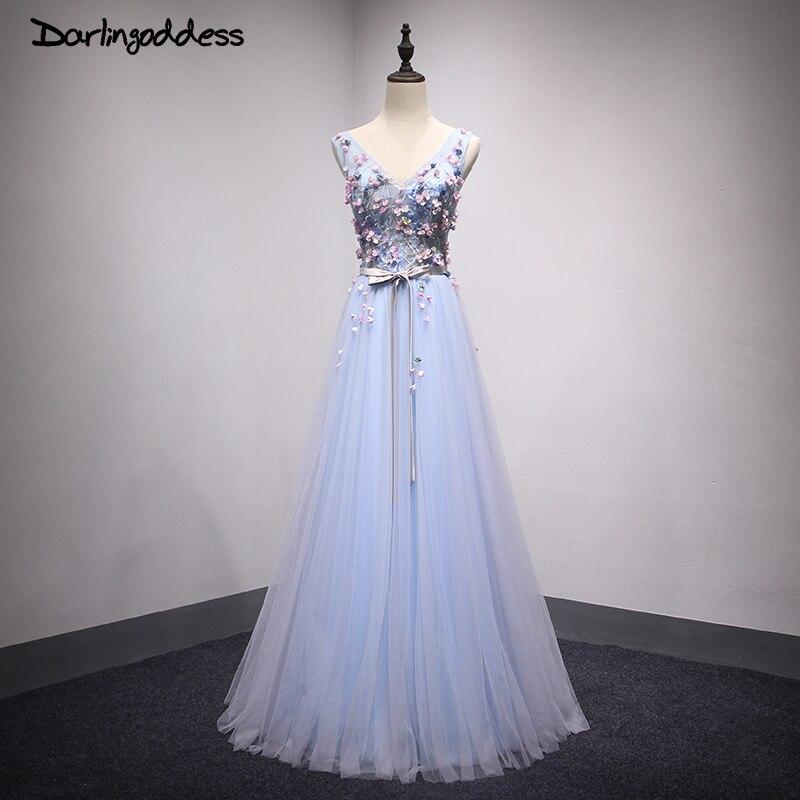 Robe de soirée Sexy robes de soirée col en V bleu étage longueur Robe Tulle fleur longues robes de soirée 2017 darlindéesse