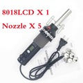 EU 220V/ US 110V 450W   LCD Adjustable Electronic Heat Hot Air Gun Desoldering Soldering Station IC SMD BGA + 5 Nozzle 8018LCD
