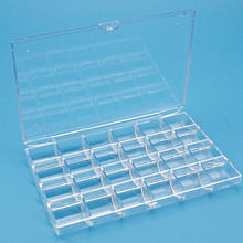 2pcs/lot 24 Grid 18x12x2cm Clear Transparent Box Plastic Cosmetic Nail Art Pill Box Case Portable Storage Container Y2684(China)