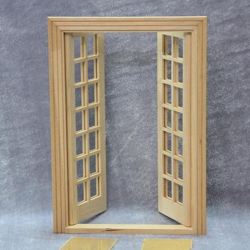 DIY 1:12 Miniature Wooden Dollhouse Door Play Doll House ...