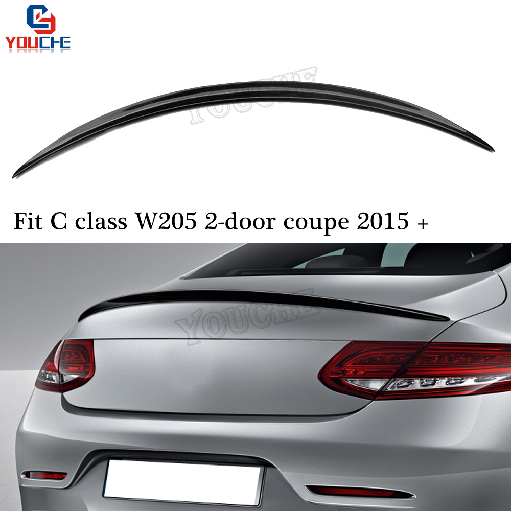 C63 Look Carbon Fiber Rear Spoiler Trunk Wing for <font><b>Mercedes</b></font> W205 C205 2015 + C Class C250 <font><b>C300</b></font> C350 2-door <font><b>Coupe</b></font> image