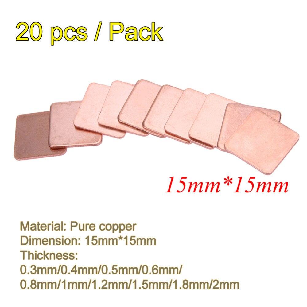 20pcs/lot 15x15mm DIY Copper Heatsink Thermal Pad Heat Sink Sheet 0.3mm to 2.0mm Thickness For Laptop GPU CPU Chip RAM Cooler