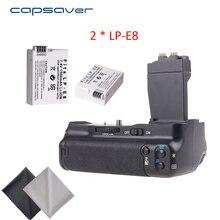 Capsaver вертикальный Батарейная ручка с 2 шт. LP-E8 батареи для Canon 550D 600D 650D 700D T2i T3i T4i T5i DSLR Камера заменить BG-E8