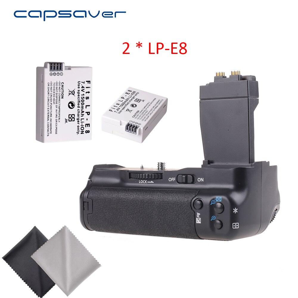 Capsaver Poignée De Batterie Verticale avec 2 pièces LP-E8 Batteries pour Canon 550D 600D 650D 700D T2i T3i T4i T5i DSLR Caméra Remplacer BG-E8