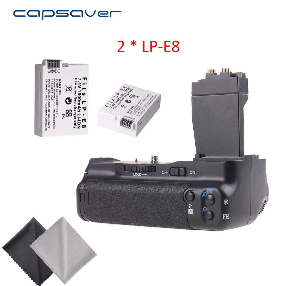 capsaver Vertical Battery Grip with 2pcs LP-E8 Batteries for Canon 550D 600D 650D 700D T2i T3i T4i T5i DSLR Camera Replace BG-E8