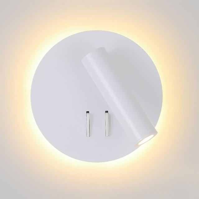 الشمال وحدة إضاءة LED جداريّة مصباح مع التبديل 3 واط الأضواء 6 واط الخلفية الحرة دوران الشمعدان مصباح حائط داخلي للمنزل غرفة نوم ضوء السرير
