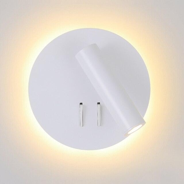 נורדי LED קיר מנורה עם מתג 3W spotligh 6W תאורה אחורית משלוח סיבוב פמוט מקורה קיר אור לבית הלילה בחדר שינה