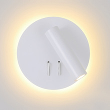 Wall-Lamp Switch Bedside-Light Bedroom Nordic Led Spotligh Indoor For Home Free-Rotation-Sconce