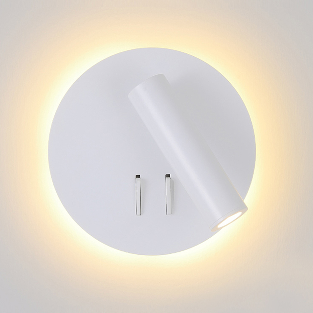 Nordic LED Wall Lamp with switch 3W spotligh 6W backlight free rotation Sconce indoor wall light For Home Bedroom Bedside light