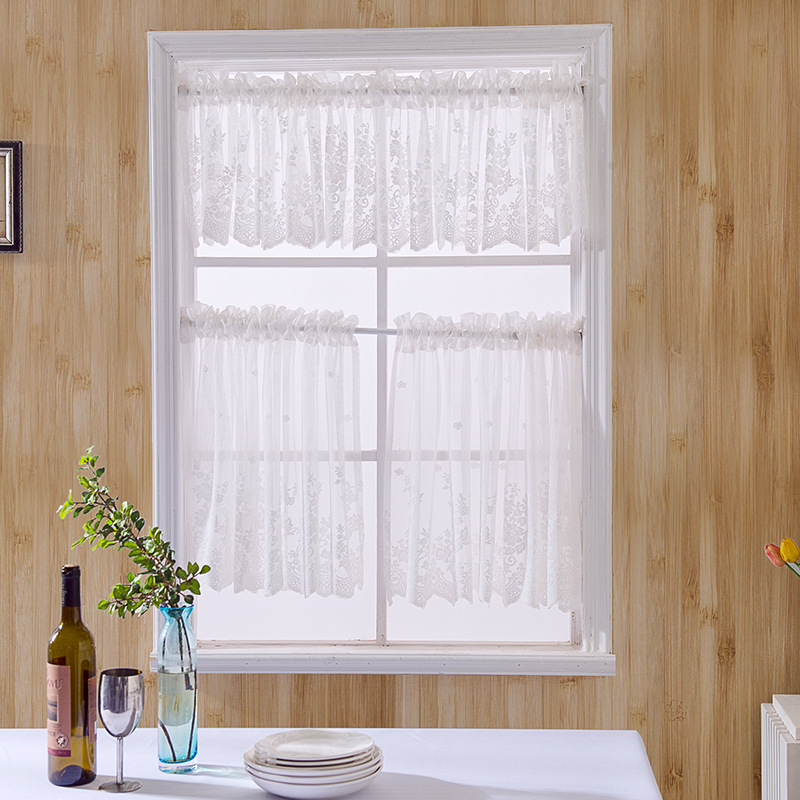 2019 New Arrival Cortinas Dormitorio Curtains For Window Lace Pelmet Tulle Hem Coffee Short For Kitchen Cabinet Home Decor