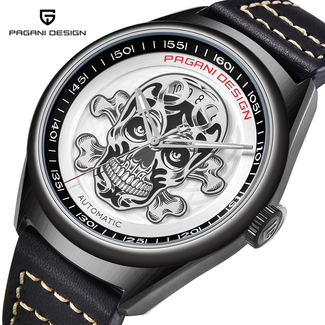 New PAGANI DESIGN Mens Classic 3D Skull Punk Style Mechanical Watches Pirate Surface Waterproof Clock Leather Automatic WatchNew PAGANI DESIGN Mens Classic 3D Skull Punk Style Mechanical Watches Pirate Surface Waterproof Clock Leather Automatic Watch