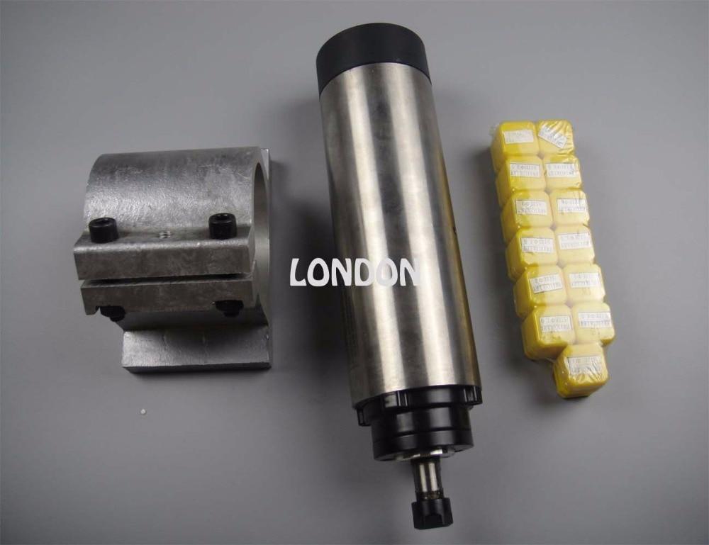 CNC spindle kit ER11 diameter 65mm 220V 0.8KW air cooling spindle motor 4 bearing + spindle support+  13 pieces ER11 collets  цены