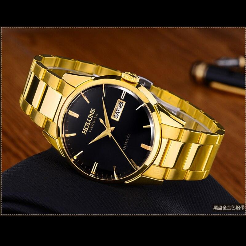 AAA Holuns Brand Watch Men Sapphire Waterproof Date Stainless Steel Gold Quartz Watches Relogio Masculine цена и фото