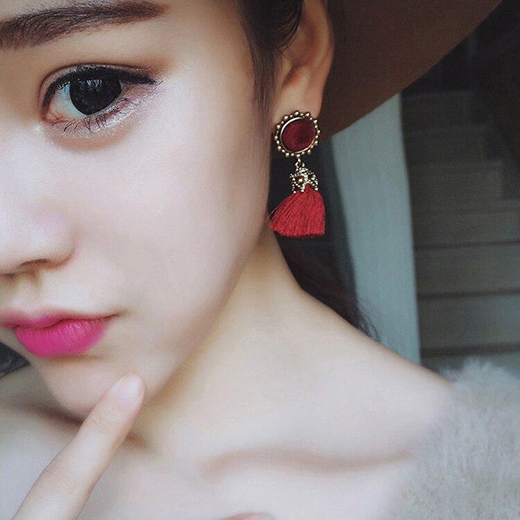 Women Fashion Jewelry Vintage Velvet Ball Statement Fringed Drop Earring Female Jewellery ,Ear Studs gray a 4
