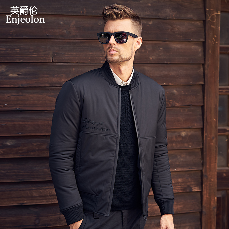 Enjeolon Brand Cotton Padded Jacket casual coat Men Parka black printing Thick Quilted fashion plus size 3XL Coat Men MF0287 winter jacket men 2016 brand parka plus size men s hooded parka zipper quilted coat casual jackets